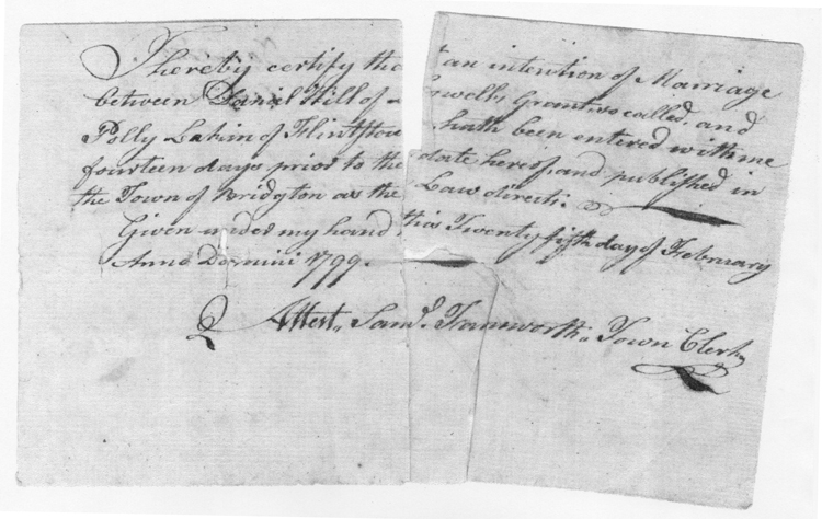 Register of the marriage of Daniel Hill and Polly Lakin